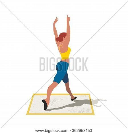 Women Training Dancing Isolated Flat Color Vector Icon. Dancer Exercising Cartoon Design Element. We