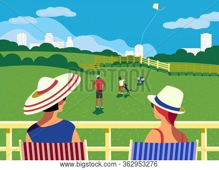 Family Staycation At Home Balcony And Backyard In City House Flat Vector. Stay Home Enjoy Cartoon Il