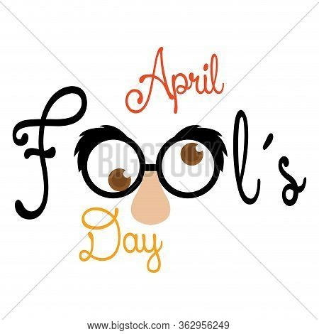 April Fools Day Poster With A Joke Mask - Vector