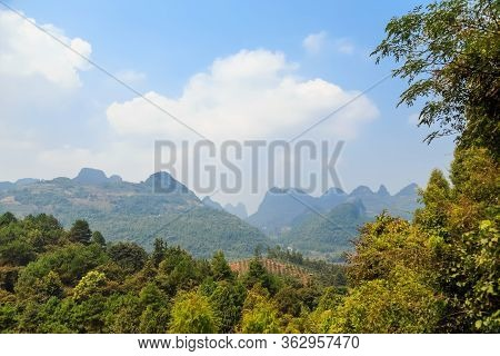 View Of Guilin Mountains On A Clear Sunny Day, Tourist China, Asia