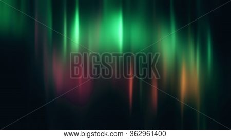 Realistic Bright Green And Pink Aurora Borealis, Northern Lights 3d Illustration