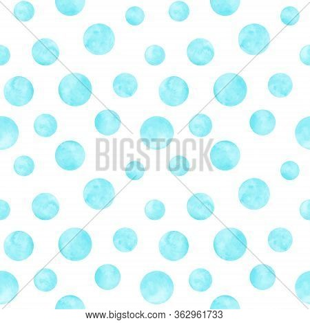 Polka Dot Blue, Teal, Turquoise Watercolor Seamless Pattern. Abstract Watercolour Background With Co