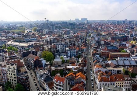 Brussels, Belgium - April 18, 2020 -Aerial view on Quai aux Briques and Sainte-Catherine Church, old and popular quater in Brussels, View During confinement - Covid-19