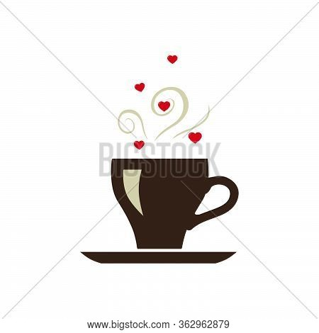 Hart And Coffee, Vector Graphic Design Element