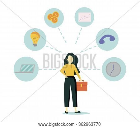 Businesswoman Is Standing And Holding Briefcase With Office Icons On The Background. Multitasking An