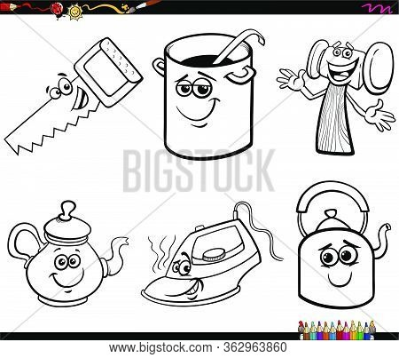 Black And White Cartoon Illustration Of Household And Every Day Objects Characters Clip Art Set Colo