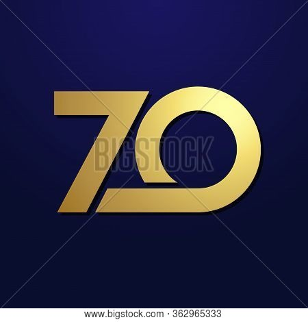 70 Th Anniversary Numbers. 70 Years Old Logotype. Shining Golden Congrats. Isolated Abstract Graphic