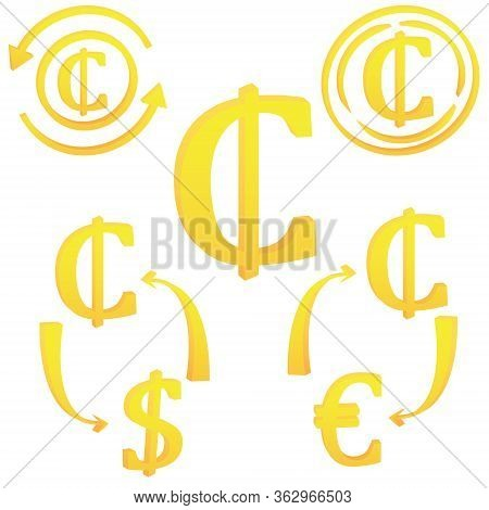 3d Ghanian Cedii Currency Symbol Icon Of Ghana Vector Illustration On A White Background