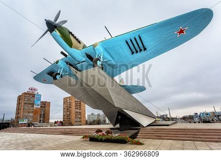 Samara, Russia - November 12, 2017: Monument To Low-flying Attack Soviet Airplane