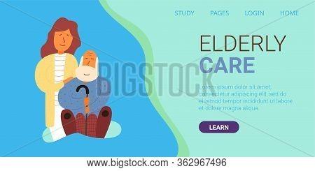 Banner Written Elderly Care. Vector Illustration. Adult Daughter Stands Behind An Elderly Father. Gr