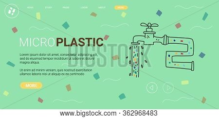 Poster Written Micro Plastic, Vector Illustration. Study Consequences Release Microscopic Fragments