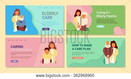 Banner Elderly Care, Caring For Elderly Parents. Inscription How To Make A Care Plan. Set Adult Daug