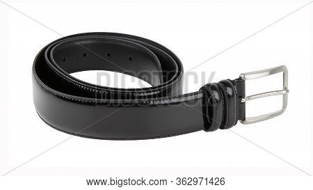 New Black Leather Belt With Nickel Buckle. Without Shadows. Isolated On White Background