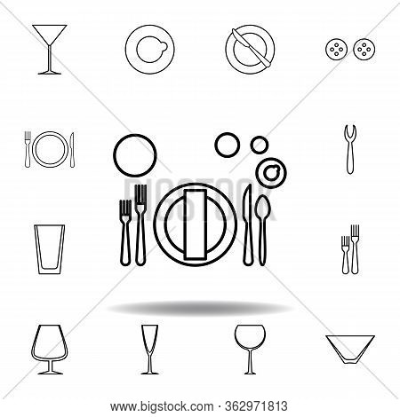 Banquet Or Brunch, Table Etiquette Icon. Set Can Be Used For Web, Logo, Mobile App, Ui, Ux On White