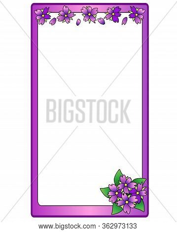 Vertical Lilac Vector Frame With Lilac Flowers And Copy Space. The Frame Is Vertical With Place For