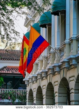 Cartagena, Colombia - November 09, 2019: Colorful Buildings In A Street Of The Old City Of Cartagena
