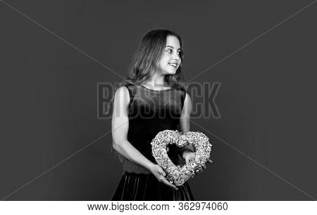 Make Way For Love This Valentine. Happy Girl Hold Wicker Heart. Little Child With Holiday Decor. Lov