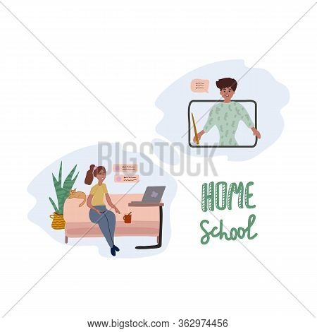 Illustration Of A Flat Education Design Concept. Distant Education. Children Study From Home. Online