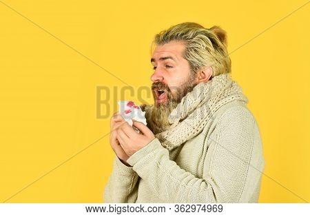 Quarantine. Man Coughing Bloody. Pneumonia Sickness. Sick Man Got Virus Infection. Healthcare. Man B