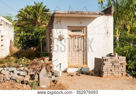 Small Poor Traditional House In The Puttaparthi Village, India