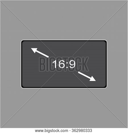 Vector Icon Monitor Sizes 16:9. Tv Screen Lcd Monitor Template Electronic Device Technology. Isolate