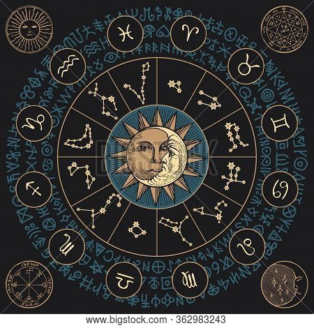 Vector Banner With Zodiac Signs In Retro Style With Icons, Names, Constellations, Sun, Moon And Magi
