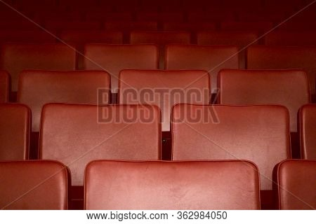Empty Red Seats Of A Theater After The Curfew Regarding Corona Virus