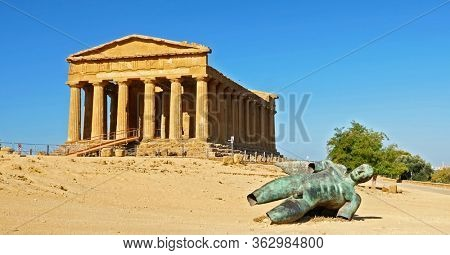 temple of concordia in the valley of temple in Agrigento- Sicilia, Italy