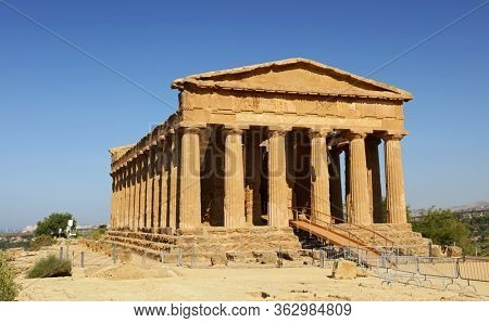 Temple of Concordia, park of the Valley of the Temples in Agrigento, Sicily, Italy