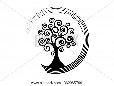 Tree Of Life Round Icon, Tree Natural Logo And Black Tree Ecology Illustration Symbol Icon Vector De