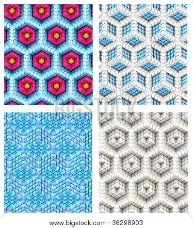 Seamless hexagon cube background texture abstract backdrop set of four poster