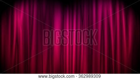 Magical Merry Christmas Background With Red Stage Curtain Cloth . Luxury Walpaper For The Day Of St.