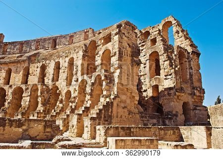 Tunisia, Africa, El -djem - Julay 10, 2018, Ruins Of The Largest  Roman Coliseum In In North Africa.