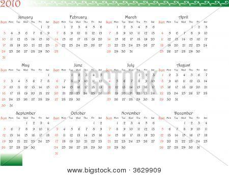 Decorated Calendar Of 2010
