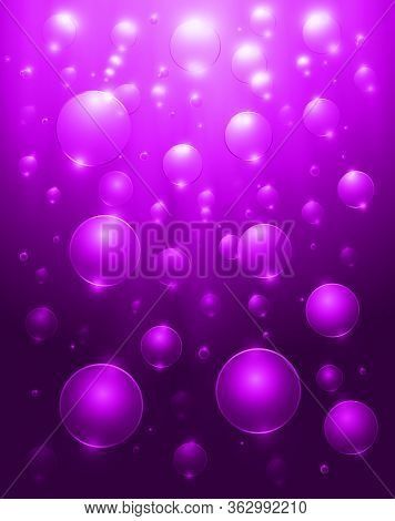 Purple Sea Landscape Underwater Space, Realistic Vector, Abstract Underwater Background With Sunligh