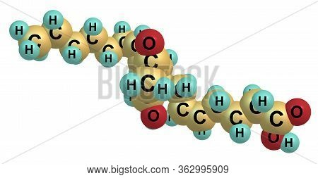Prostaglandin D2 Molecular Structure Isolated On White