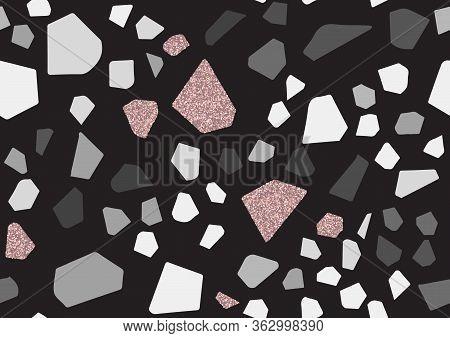 Abstract Monochrome Terrazzo Seamless Pattern. Pink Glitter Textured Elements.