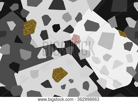 Abstract Monochrome Terrazzo Seamless Pattern. Gold, Pink Glitter Textured Elements.