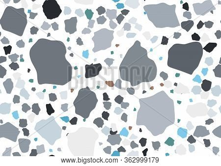Abstract Flat Terrazzo Seamless For Textile, Floor Tile Design. Seamless Background Pattern. Vector