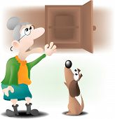 old mother Hubbard went to the cupboard to get her poor dog a bone. poster