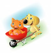 a dog giving a cat a wheelbarrow ride down a hill. poster