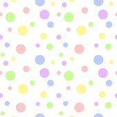 Seamless pattern of soft baby pastel color polka dots in various sizes on white background poster