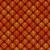 Seamless damask pattern in gold on deep rich red. poster
