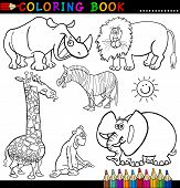 Coloring Book or Page Cartoon Illustration of Funny Wild and Safari Animals for Children poster