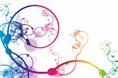 Rainbow Abstract Curving Line Vines in White Background poster