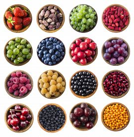 Top View. Fruits And Berries In Bowl On White Background. Set Of Berry And Fruits Isolation. Collage
