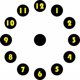Clock Dial Enormous Yellow Numbers In Circle Hourly On Black Circle On Transparent Background