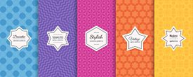 Colorful Seamless Pattern Collection. Set Of Simple Vector Geometric Background Swatches With Elegan