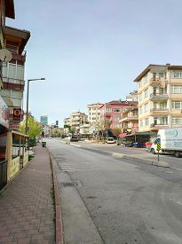 Istanbul - Apr 19, 2020: The Streets Of Turkey Cities Were Deserted On Sunday. People Are Only Permi