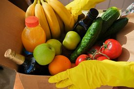 Delivery Of A Box Of Vegetables And Fruits And Ingredients. Healthy Food. Shopping Box With Products